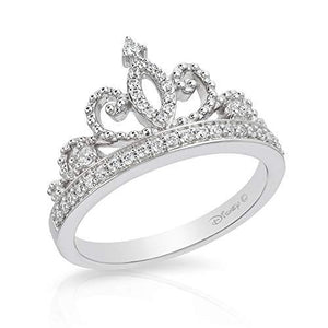 Enchanted Disney Fine Jewelry Sterling Silver 1/5Cttw Majestic Princess Tiara Ring