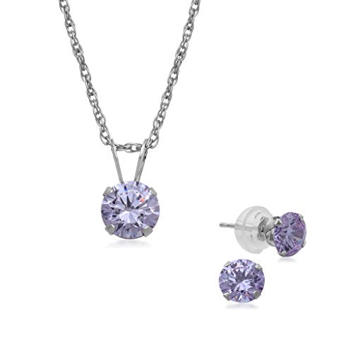 Jewelili 10KT White Gold 5mm Round Lavender Swarovski Zirconia Solitaire Pendant Necklace and Stud Earrings Box Set