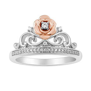 Enchanted Disney Fine Jewelry Sterling Silver And 10K Rose Gold 1/10Cttw Belle Rose Tiara Ring