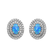 Load image into Gallery viewer, Jewelili Sterling Silver 6x4mm Oval Created Opal with Blue 5A Shade and Cubic Zirconia Double Halo Earrings
