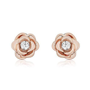 Enchanted Disney Fine Jewelry 14K Rose Gold over Sterling Silver Diamond Accent Belle Rose Earring