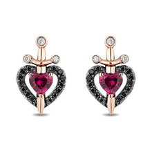 Load image into Gallery viewer, Enchanted Disney Fine Jewelry Sterling Silver and 10k Rose Gold with 1/6 cttw Black and White and Created Ruby Evil Queen Dragger with Heart Earrings