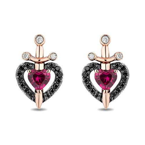 Enchanted Disney Fine Jewelry Sterling Silver and 10k Rose Gold with 1/6 cttw Black and White and Created Ruby Evil Queen Dragger with Heart Earrings