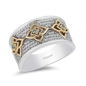 Enchanted Disney Fine Jewelry Sterling Silver And 10K Yellow Gold With 1/5Cttw Diamond Aladdin Live Action Ring