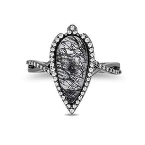 Enchanted Disney Fine Jewelry 14k White with Black Rhodium 1/4cttw and Rutile Quartz Maleficent Ring