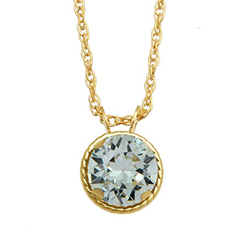 Jewelili 10kt Yellow Gold Swarovski Diamond Pendant Necklace
