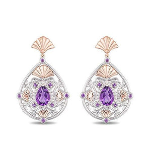 Enchanted Disney Fine Jewelry 14K White and Rose Gold with 1/6cttw Diamonds and Amethyst Ariel Earrings