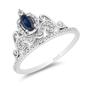 Enchanted Disney Fine Jewelry 14K White Gold With 1/6Cttw Blue Sapphire Cinderella Tiara Ring