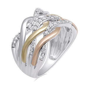 Jewelili 10kt Rose and Yellow Gold and Sterling Silver Created White Sapphire Two Tone Crisscross Ring, Size 7