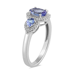 Jewelili 10kt White Gold 7x5mm Oval Tanzanite, 4x3mm Pear Tanzanite and 1/10cttw Round Natural White Diamond Ring, Size 6