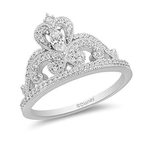 Enchanted Disney Fine Jewelry 14K White Gold With 1/3Cttw Diamond Majestic Princess Tiara Ring