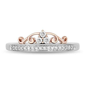 Enchanted Disney Fine Jewelry 10K White and Rose Gold With 1/2 Cttw Diamond Majestic Princess Tiara Ring