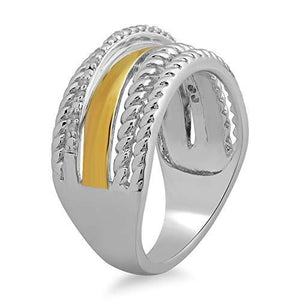 Jewelili Yellow and White Sterling Silver Round Natural White Diamond Accent Ring.