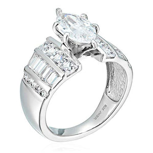 Jewelili Sterling Silver Cubic Zirconia Channel Engagement Ring