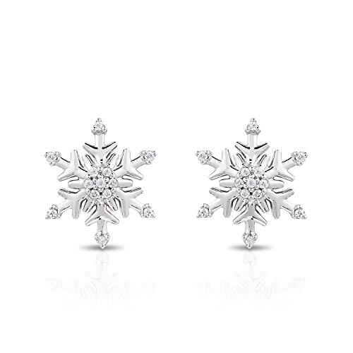 Enchanted Disney Fine Jewelry Sterling Silver 1/10Cttw Elsa Snowflake Earrings