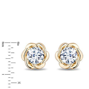 Enchanted Disney Fine Jewelry 14K Yellow Gold 1.00 cttw Diamond Belle Solitaire Earrings