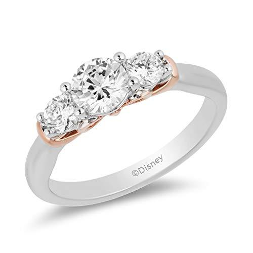 Enchanted Disney Fine Jewelry with 14K White Gold and Rose Gold with 1.00 CTTW Diamond Snow White Ring
