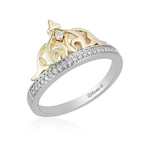 Enchanted Disney Fine Jewelry Sterling Silver and 10K Yellow Gold 1/10CTTW Jasmine Tiara Ring