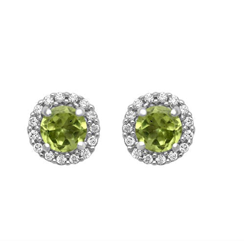 Jewelili Sterling Silver Round Peridot With Cubic Zirconia Earrings