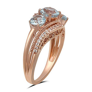 Jewelili 10kt Rose Gold Sky Blue and White Topaz 3 Stone Ring, Size 7