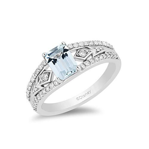 Enchanted Disney Fine Jewelry Sterling Silver with 1/4 cttw Diamond Aquamarine Elsa Ring