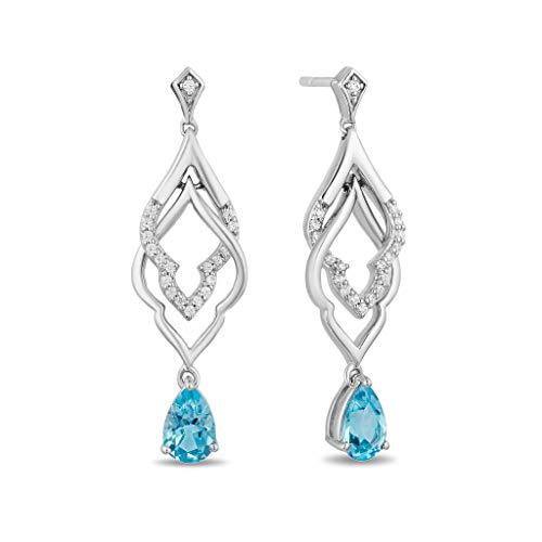 Enchanted Disney Fine Jewelry Sterling Silver with 1/10cttw Diamond and Swiss Blue Topaz Jasmine Earrings