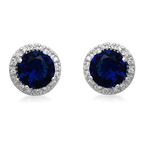 Jewelili Sterling Silver Blue Simulated Sapphire And Cubic Zirconia Stud Halo Stud Earrings
