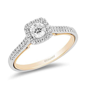 Enchanted Disney Fine Jewelry 14K White and Yellow Gold With 1/2 cttw Diamond Jasmine Engagement Ring