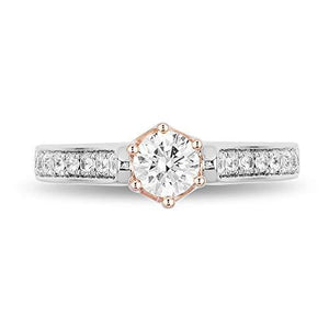 Enchanted Disney Fine Jewelry 14K White and Rose Gold With 5/8 cttw Diamond Majestic Princess Engagement Ring