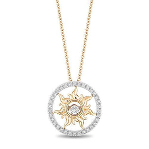 Enchanted Disney Fine Jewelry 14K Yellow Gold 1/10cttw Rapunzel Sun Pendant