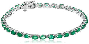 Jewelili 10kt White Gold 5x3mm Oval Gemstone and Natural White Diamond Accent Fashion Bracelet, 7.5""
