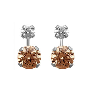 Jewelili 10KT White Gold White And Champagne Swarovski Zirconia Drop Stud Earrings