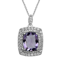 "Load image into Gallery viewer, Jewelili Sterling Silver 10x8mm Cushion Cut Amethyst and Created White Sapphire Double Halo Pendant Necklace, 18"" Rolo Chain"