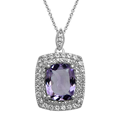 Jewelili Sterling Silver 10x8mm Cushion Cut Amethyst and Created White Sapphire Double Halo Pendant Necklace, 18