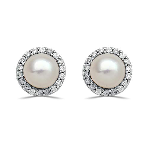 Jewelili Cultured Pearl and CZ Sterling Silver Stud earringss