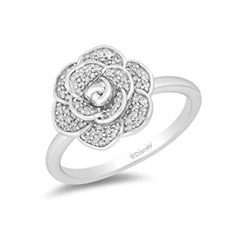 Enchanted Disney Fine Jewelry Sterling Silver with 1/5cttw Diamonds Cinderella 70th Anniversary Gardenia Flower Ring