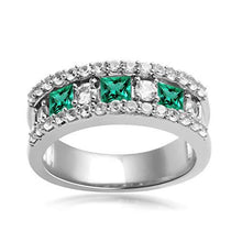 Load image into Gallery viewer, Jewelili Sterling Silver Created Emerald and Created White Sapphire Band Ring