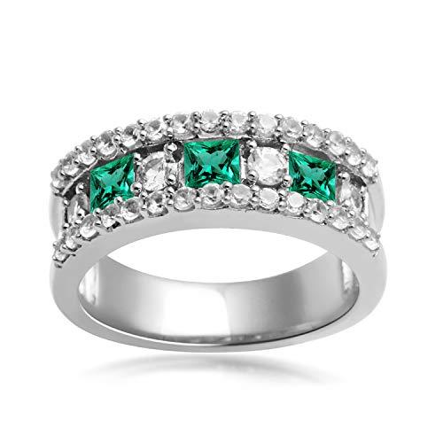 Jewelili Sterling Silver Created Emerald and Created White Sapphire Band Ring