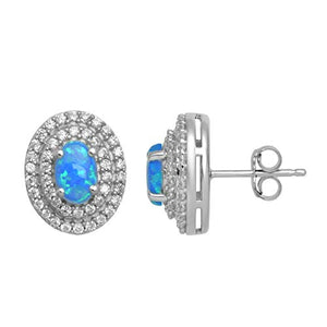 Jewelili Sterling Silver 6x4mm Oval Created Opal with Blue 5A Shade and Cubic Zirconia Double Halo Earrings