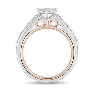 Enchanted Disney Fine Jewelry 10K White Gold and Rose Gold 1/2Cttw Snow White Disney Ring