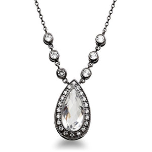 Jewelili Sterling Silver Created White Quartz and Created White Sapphire Necklace