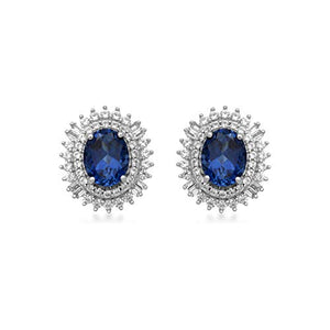 Jewelili Sterling Silver 8x6mm Oval Created Ceylon Sapphire alongwith Baguette and Round Created White Sapphire Blooming Earrings