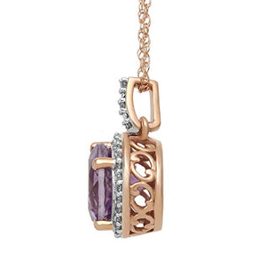 "Jewelili 10kt Rose Gold 8mm Round Amethyst and 1/10cttw Natural White Diamonds Halo Pendant Necklace, 18"" Rope Chain"