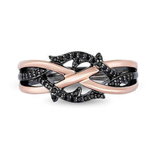 Load image into Gallery viewer, Enchanted Disney Fine Jewelry Sterling Silver and 10k Pink Gold with Black Rhodium 1/5cttw Maleficent Ring