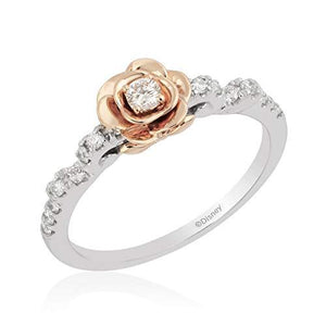 Enchanted Disney Fine Jewelry Sterling Silver And 10K Rose Gold With 1/4Cttw Diamond Belle Rose Ring