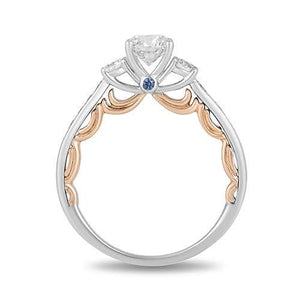 Enchanted Disney Fine Jewelry 14K White And Rose Gold 1.00 Cttw Diamond with London Blue Topaz Cinderella Bridal Ring