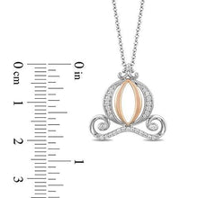 Load image into Gallery viewer, Enchanted Disney Fine Jewelry Sterling Silver and 10K Rose Gold With 1/5Cttw Diamond Cinderella Carriage Pendant