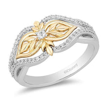 Load image into Gallery viewer, Enchanted Disney Fine Jewelry Sterling Silver and 10K Yellow Gold with 1/5 CTTW Diamonds Anna Ring.