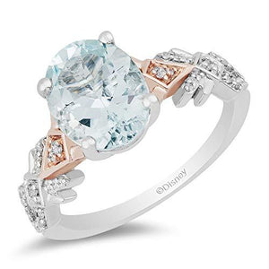 Enchanted Disney Fine Jewelry 10K White And Rose Gold With 1/6Cttw Diamond and Aquamarine Elsa Ring