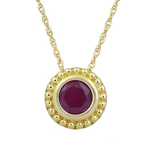 Jewelili 10K Yellow Gold with 5 millimeter Ruby Pendant Necklace, 18 Inches Rope Chain